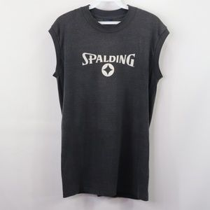 Vintage Spalding Spell Out Tank Top Shirt Gray M